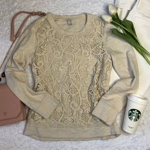 J. Crew Crochet Lace Embroidered Long Sleeve Top